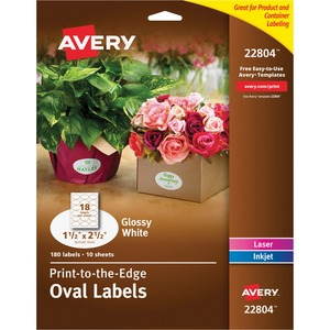 Avery BB GLOSSY WHITE OVAL LABELS