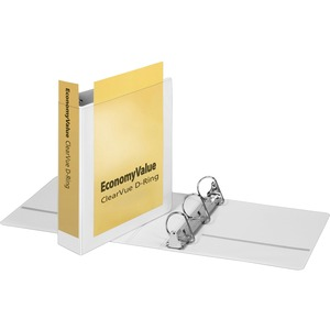 "Cardinal EconomyValue™ ClearVue™ Slant-D® Ring Binder, 2"", White, W/Packaging"