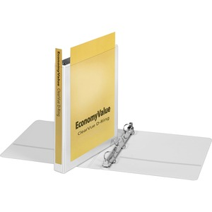"Cardinal EconomyValue™ ClearVue™ Slant-D® Ring Binder, 1"", White, W/Packaging"