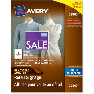 "Avery® Window Signage Removable 8-1/2"" x 11"" Clear 6/pkg"