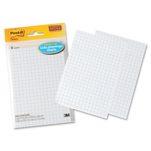 "Post-it® Super Sticky Grid Notes 4"" x 6"" 50 sheets per pad 2 pads/pkg"