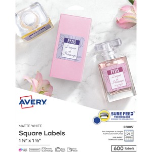 "Avery® Print-to-the-Edge Square Labels 1-1/2"" x 1-1/2"" 600/pkg"