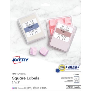 "Avery® Print-to-the-Edge Square Labels 2"" x 2"" 300/pkg"