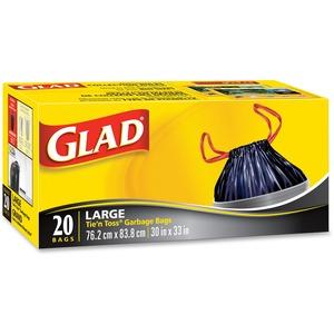 """Glad Tie'N'Toss Large Garbage Bags - 21.9 gal - 32"""" (812.8 mm) x 30"""" (762 mm) - 20/Box - Black"""