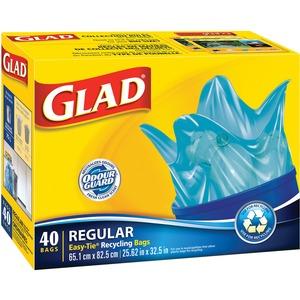 "Glad Easy-Tie Regular Recycling Bag - 17.7 gal - 32.5"" (825.5 mm) x 20"" (508 mm) - Plastic - 40/Pack - Blue"