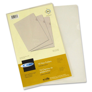 "VLB FileMode View Folders 14x8-1/2"" Clear 10/pkg"