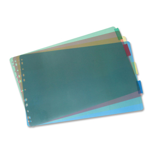 """VLB FileMode Large Format Index Dividers Poly 11x17"""" Assorted Colours 5 Tabs"""