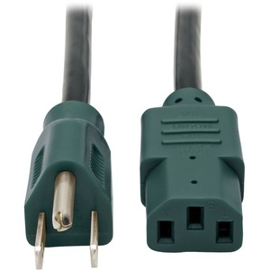 Tripp Lite 4ft Color-Coded Standard 125V AC Power Cord 5-15P to IEC-320-C13 - Green / Mfr. No.: P006-004-Gn