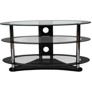 B-Tech Ventry 3 Shelf Tempered Clear Glass Oval AV Stand