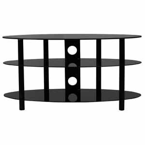 B-Tech Ventry 3 Shelf Tempered Black Glass Oval AV Stand