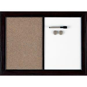 "Quartet® Espresso™ Home Décor Magnetic/Cork Combo Board 17"" x 23"" Dark Brown"
