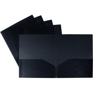 Storex® Recycled Twin Pocket Poly Portfolio Black
