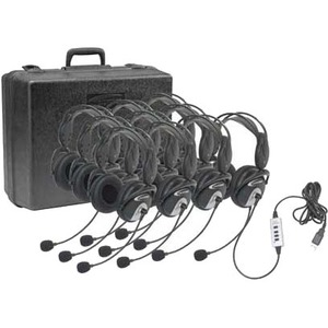 10pk Califone 4100-10 Headset USB 2.0 W/ Padded Case By Ergog / Mfr. no.: 4100-10