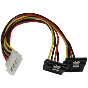 12in 4pin Molex To Dual Right Angle SATA Y Splitter Cable / Mfr. No.: Pyo2lp4lsatr