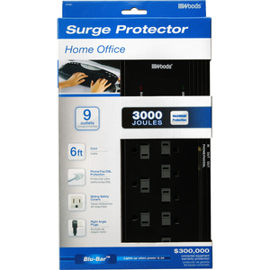 Woods® 9-Outlet Home Office Surge Protector 3,000 Joules