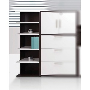 Links Left Corner Bookcase True White/Chocolate Walnut