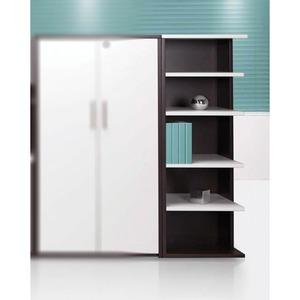 Links Right Corner Bookcase True White/Chocolate Walnut