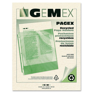 Gemex PAGEX Recycled Page Holders 2 mil Matte Letter 100/box