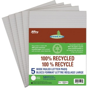 Hilroy Enviro-Plus 100% Recycled Writing Pads Wide Rule 50 sheets per pad Letter 5 pads/pkg