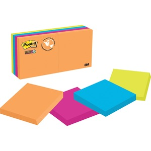 "Post-it® Super Sticky Notes 2"" x 2"" 90 sheets per pad Assorted Rio De Janeiro Colours 8 pads/pkg"