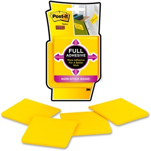 """Post-it® Super Sticky Full Adhesive Notes 3"""" x 3"""" 25 sheets per pad Yellow 4 pads/pkg"""