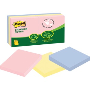 "Post-it® Greener Pop-up Notes 3"" x 3"" 100 sheets per pad Assorted Helsinki Colours 6 pads/pkg"