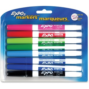 Expo® Low Odour Dry Erase Markers Assorted Colours 8/pkg