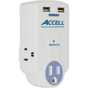 Accell Travel Surge Protector with Dual USB Charging / Mfr. No.: D080b-010k