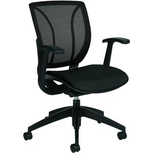 Global® Roma Mesh Medium Back Task Chair Match Fabric Black