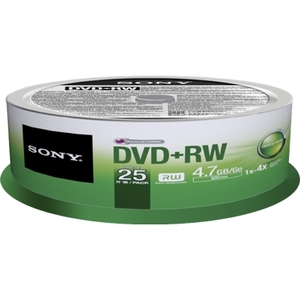 Sony 25DPW47SPM DVD Rewritable Media - DVD+RW - 4x - 4.70 GB - 25 Pack Spindle