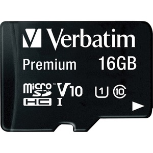 Verbatim 16GB MicroSDHC Memory Card With Adapter Class 10 / Mfr. no.: 44082
