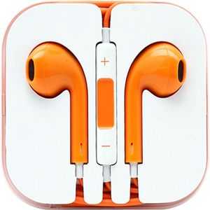 4XEM Earphones For iPhone/iPod/iPad - Orange / Mfr. No.: 4xapplearpodor
