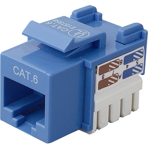 Cat6 Keystone Jack 568a/568b Blue Channel Certified / Mfr. no.: R6D026-AB6-BLU