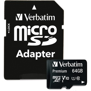 Verbatim 64GB Pro MicroSDXC Memory Card With Adapter Class 10 / Mfr. No.: 44084