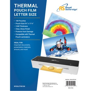 100pk Letter Size Laminating Pouch Heat Sealed 3mil / Mfr. No.: Rf03letr0100