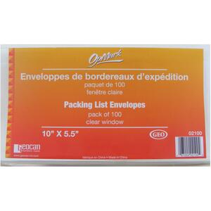 "Geocan Packing List Envelopes 5-1/2"" x 10"" 100/pkg"
