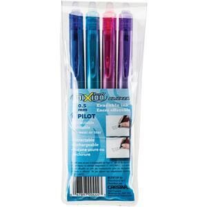 Pilot® FriXion® Clicker Retractable Erasable Gel Pen 0.5 mm Assorted Colours 4/pkg