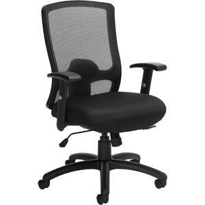 Offices To Go Regalia Mesh High Back Synchro Tilter Chair with Height Adjustable Arms and Fabric Seat Black