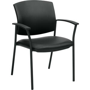 Offices To Go Ibex Guest Chair with Arms Luxhide Black