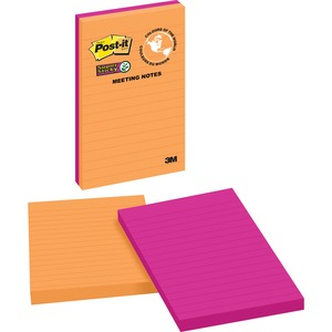 """Post-it® Super Sticky Meeting Notes 5"""" x 8"""" Lined 45 sheets per pad Assorted Rio de Janeiro Colours 2 pads/pkg"""