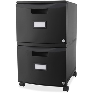 Storex® 2 Drawer Plastic Vertical File with Casters Letter Black