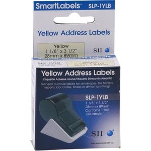 Qty130 1-1/8in X 3-1/2in Yellow Mailing Label