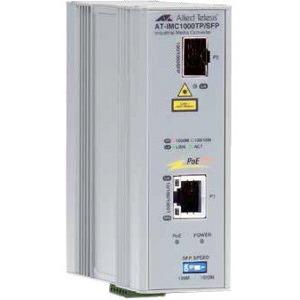 Allied Telesis 2-Port Gigabit Ethernet PoE+ Industrial Media Converter