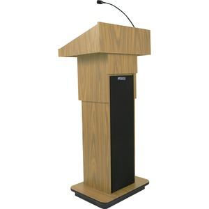 Executive Adj Column Lectern Light Oak 50w Amp 2 Speakers Mi / Mfr. No.: S505a-Ok