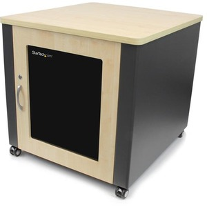 12u Sound Reducing Server Cabinet Wood Finish Casters / Mfr. No.: Rkqmcab12