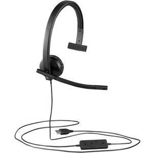 0563d41ce21 Logitech USB Headset Mono H570e - Mono - USB - Wired - 31.50 Hz - 20 kHz -  Over-the-head - Monaural - Supra-aural - Noise Cancelling, Electret  Microphone
