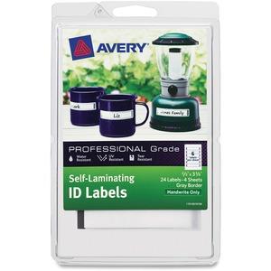 Avery SelfLam ID Lbls 2/3x3-3/8 24/pk