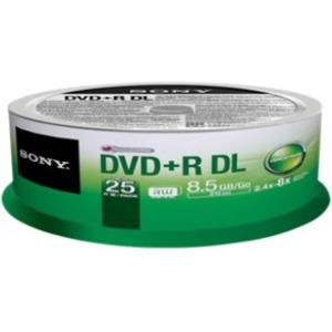 Sony 25DPR85SP/US DVD Recordable Media - DVD+R - 8x - 8.50 GB - 25 Pack Spindle