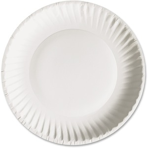 Ajm Packaging Green Label Economy Paper Plates 9 Diameter Plate Microwave Safe White