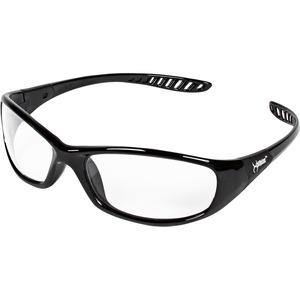 Jackson Safety V40 Hellraiser Safety Eyewear - Lightweight, Flexible, Comfortable, Impact Resistant, Anti-fog - Ultraviolet Protection - Polycarbonate Lens - Clear, Black - 1 Each